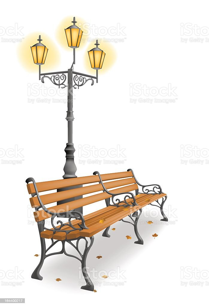 Wooden park bench and street lamp against white background royalty-free stock vector art