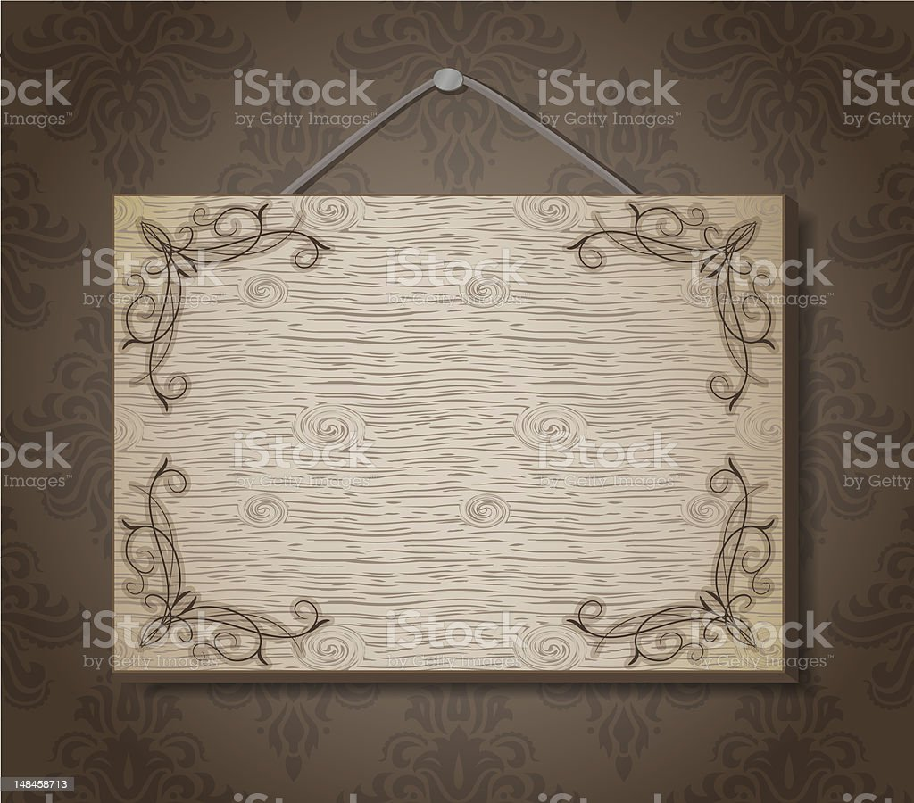 Wooden plaque on the ornate wallpapers royalty-free stock vector art