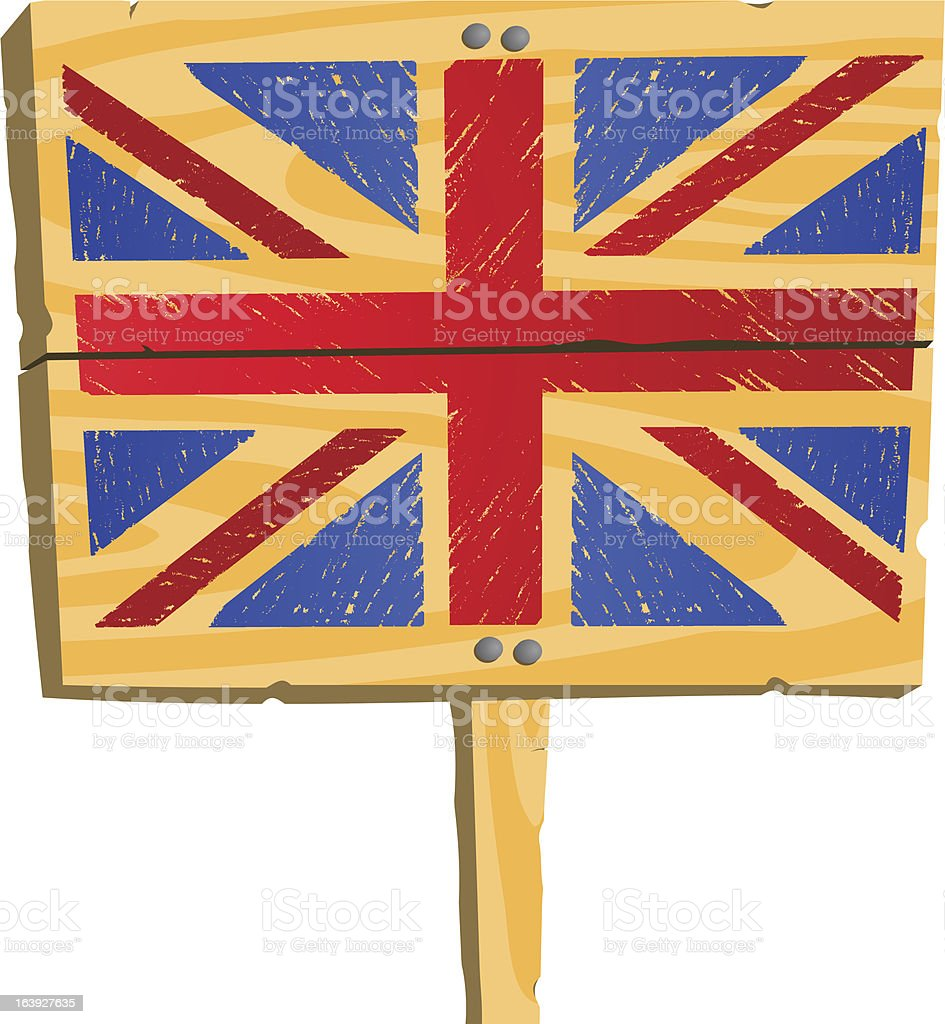 Wooden plate with British flag royalty-free stock vector art