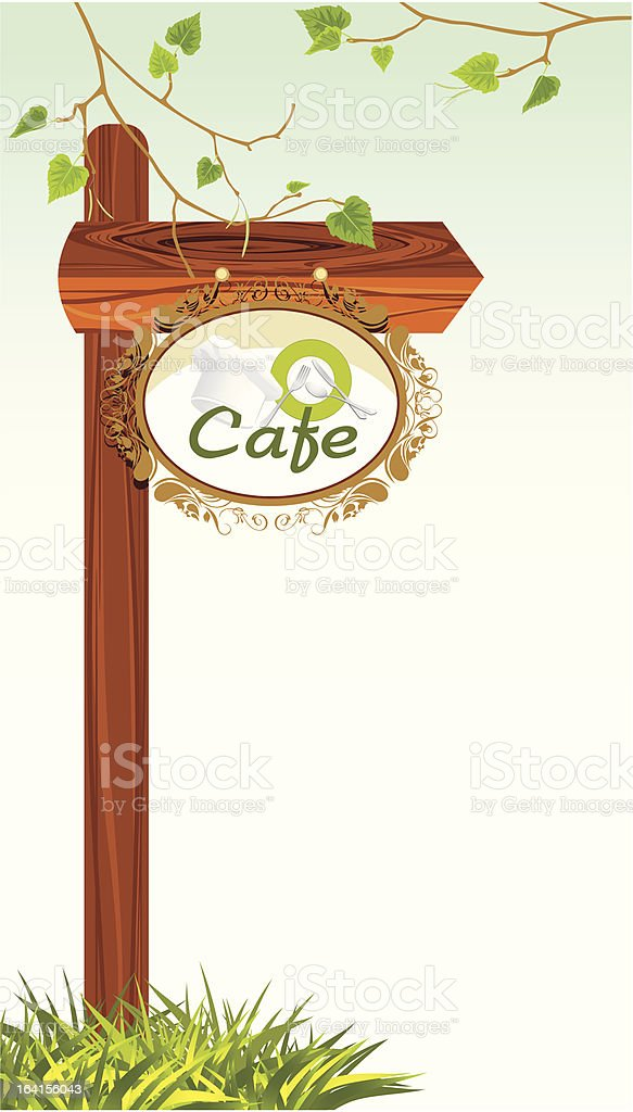Wooden pointer of a location cafe vector art illustration