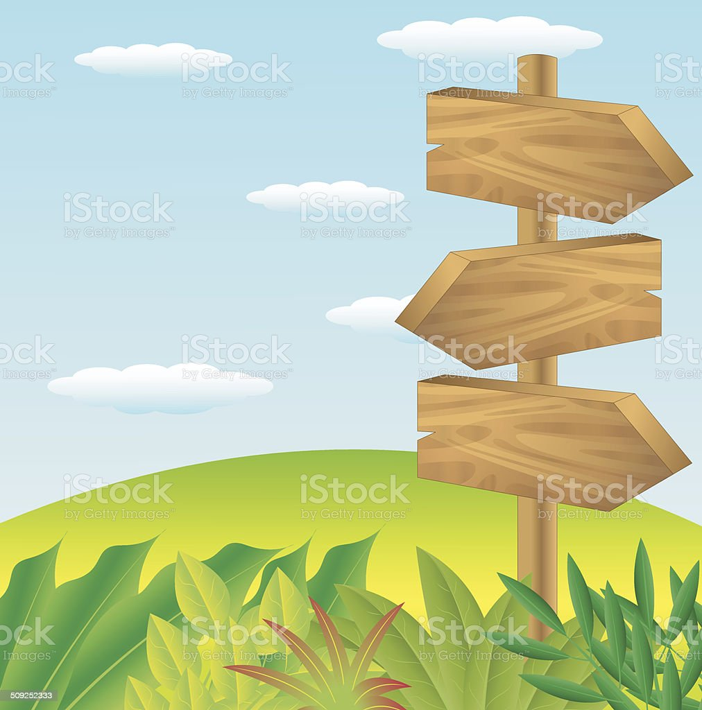 wooden pointer to the green lawn vector art illustration