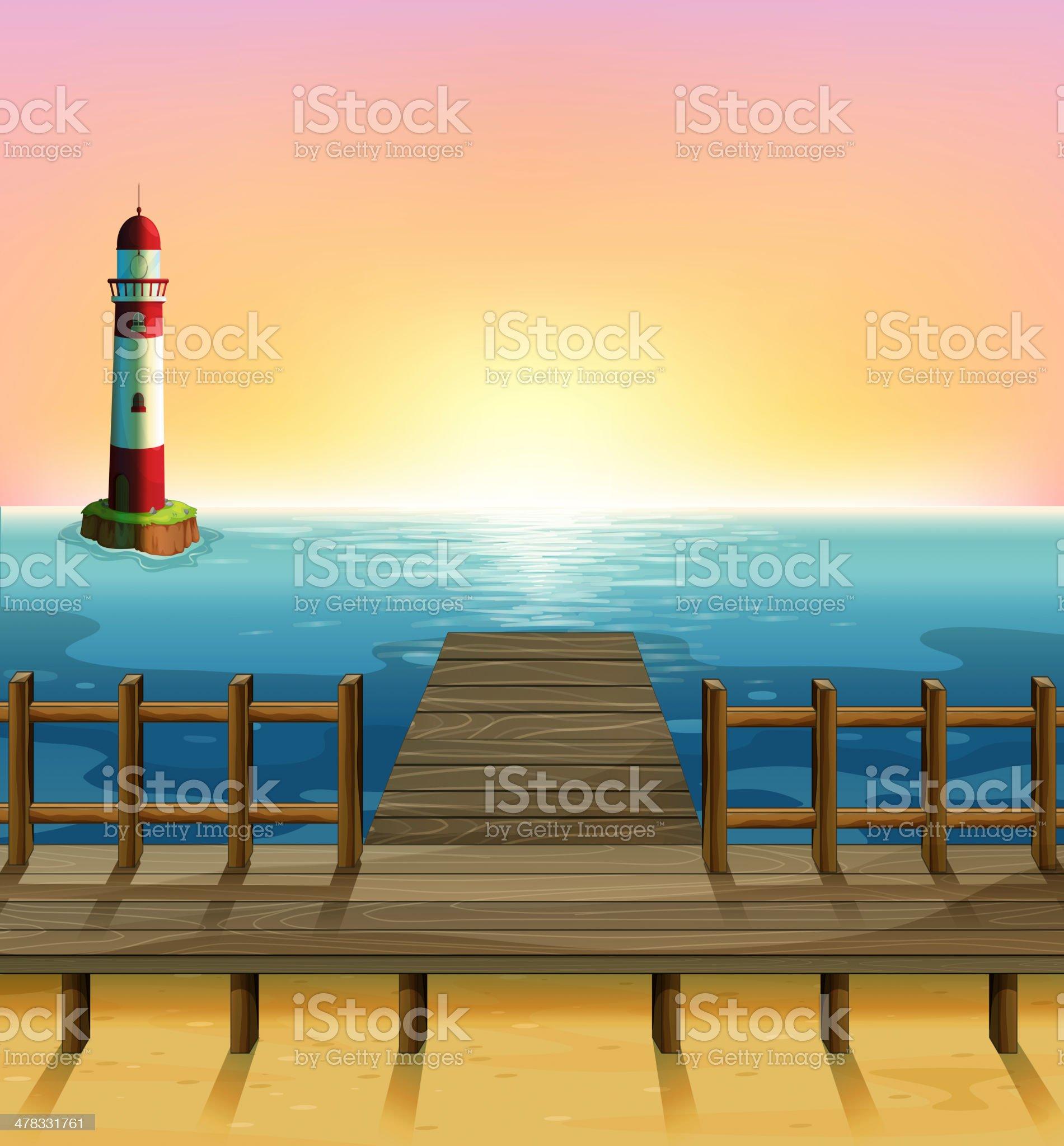 Wooden port and the sea parola royalty-free stock vector art