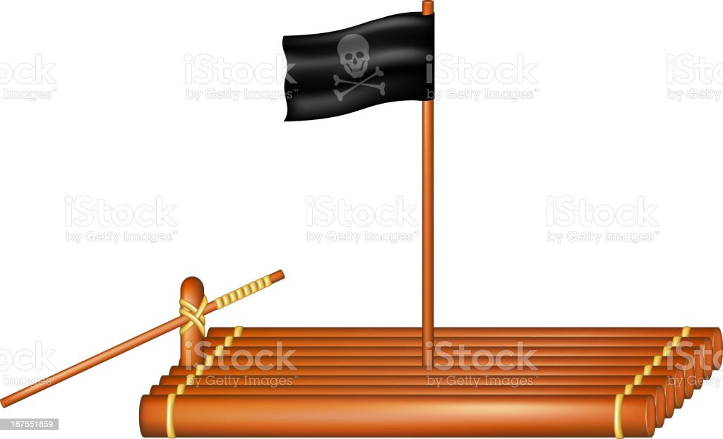 Wooden raft with pirate flag vector art illustration