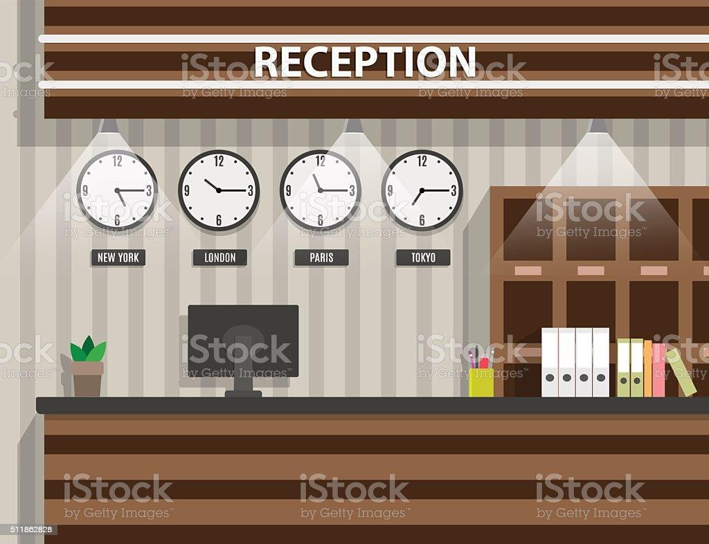 wooden reception interior vector art illustration