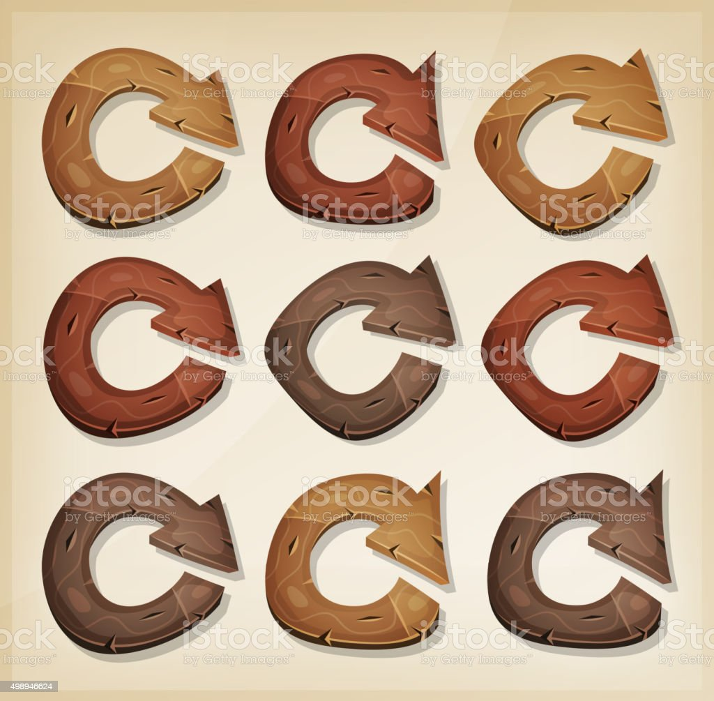 Wooden Refresh Arrows Icons For Ui Game vector art illustration