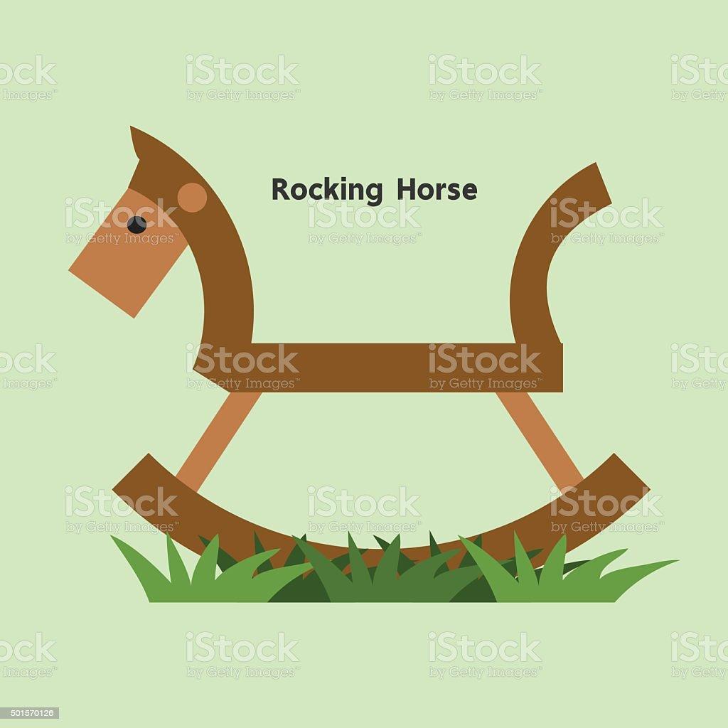 Wooden rocking horse vector illustration on a grasses, Flat desi vector art illustration
