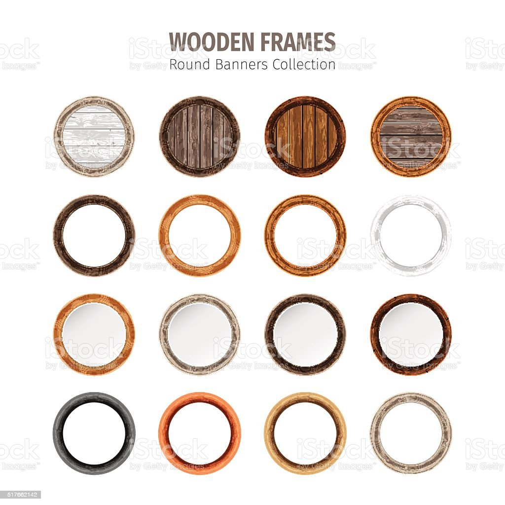 Wood frames set free vector - Wooden Round Frames Set Royalty Free Stock Vector Art