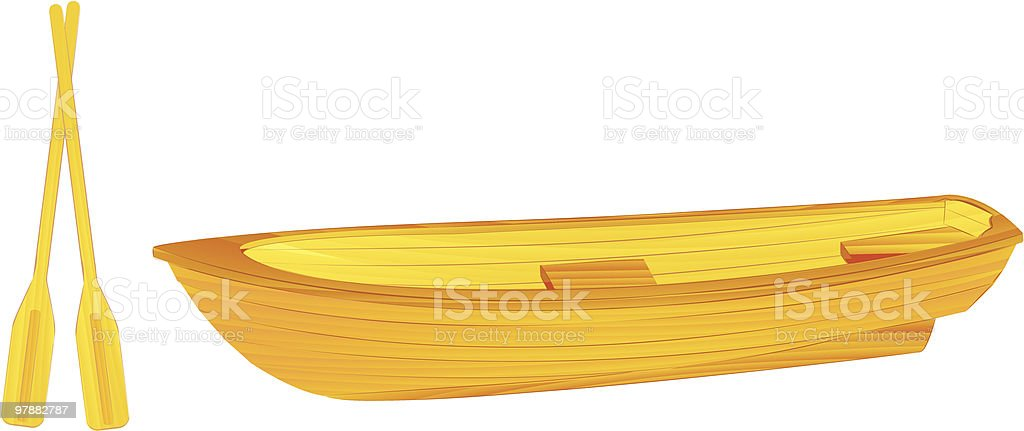 Wooden rowing boat illustration royalty-free stock vector art
