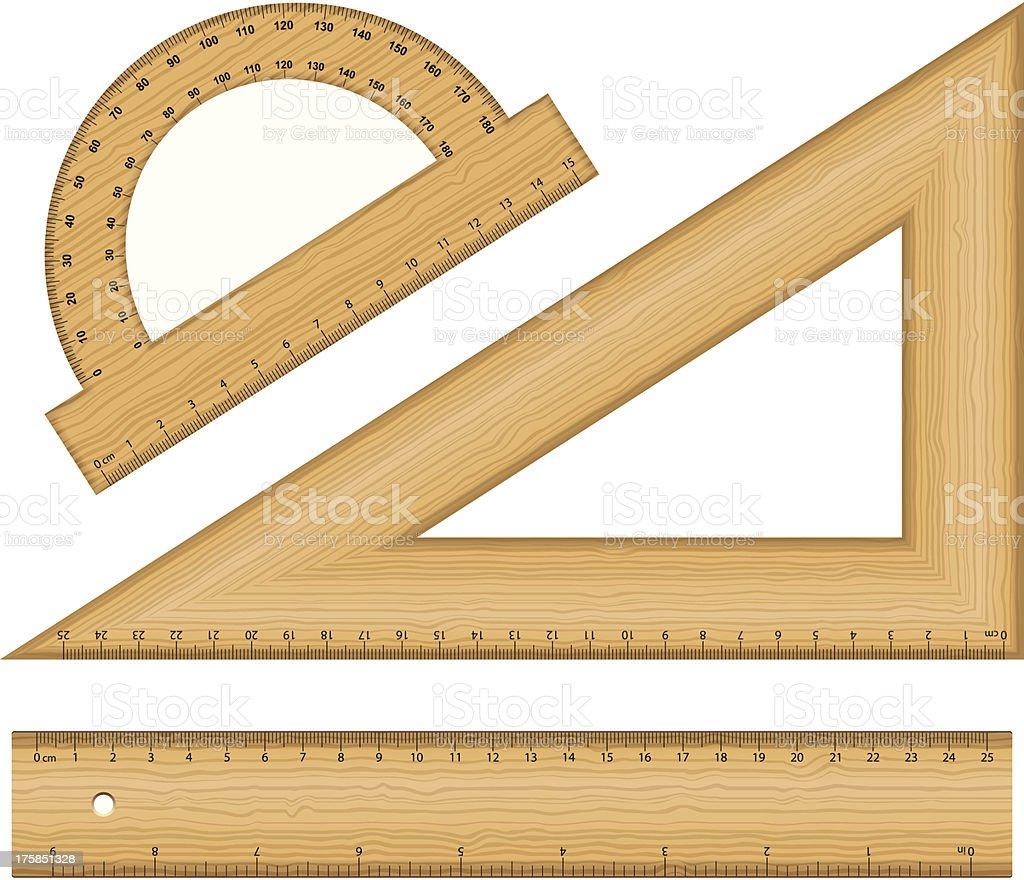 wooden ruler instruments royalty-free stock vector art