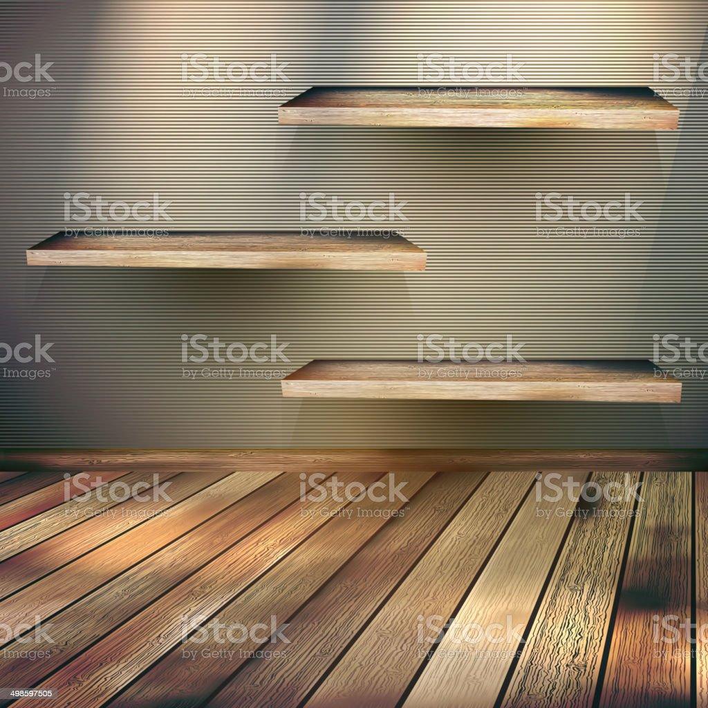 Interior wooden shelves free vector - Wooden Shelves Background Eps 10 Royalty Free Stock Vector Art