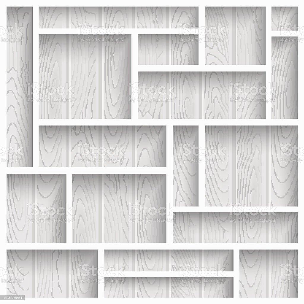Wooden shelves vector art illustration