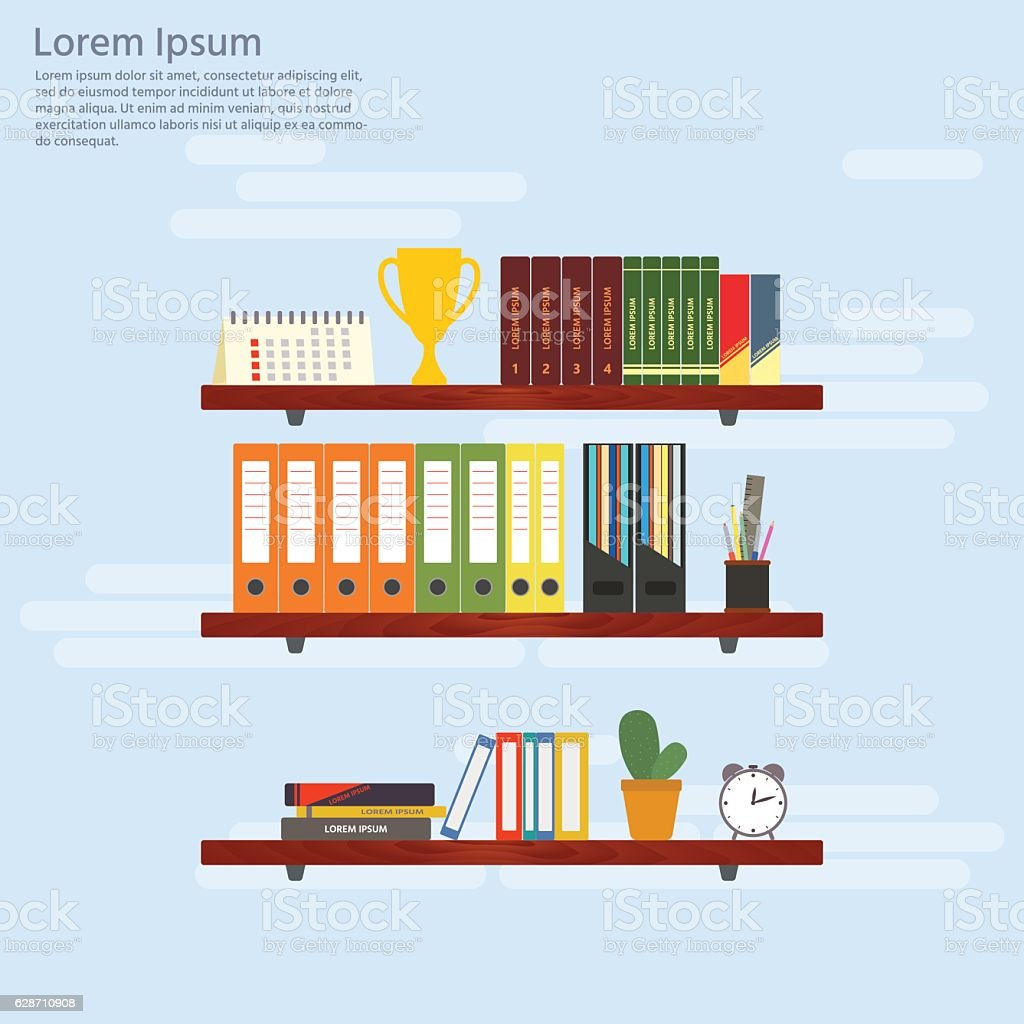 Interior wooden shelves free vector - Wooden Shelves With Books And Folders Office Interior Royalty Free Stock Vector Art