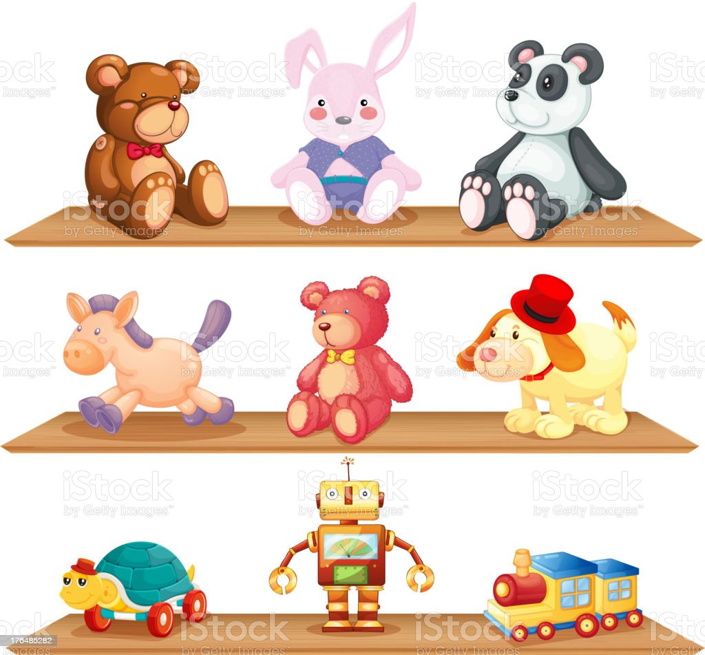 Wooden shelves with different toys vector art illustration