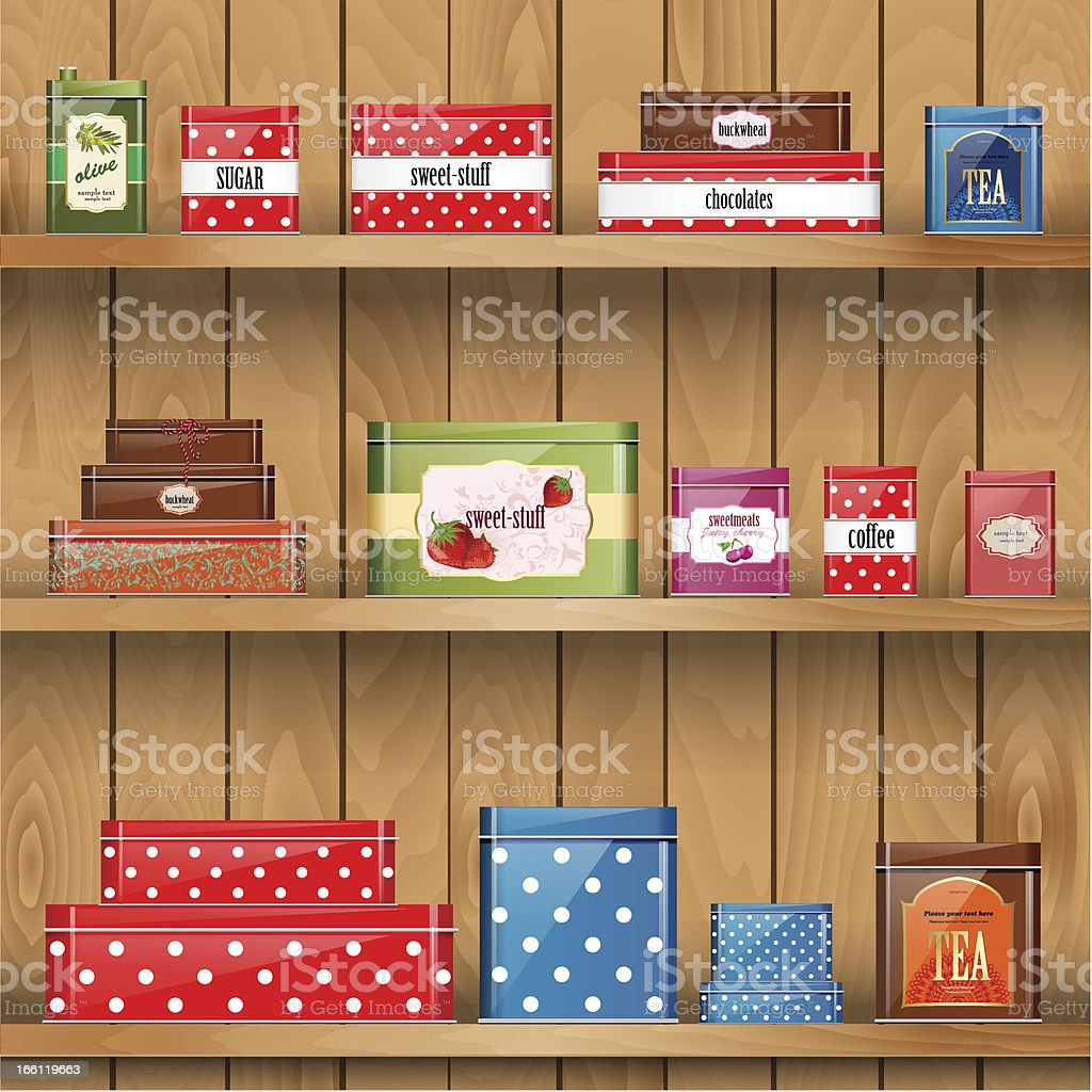 Wooden shelves with metal boxes royalty-free stock vector art