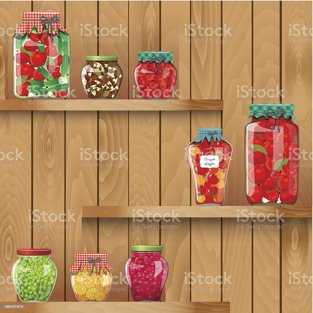 Interior wooden shelves free vector - Wooden Shelves With Organic Food Royalty Free Stock Vector Art