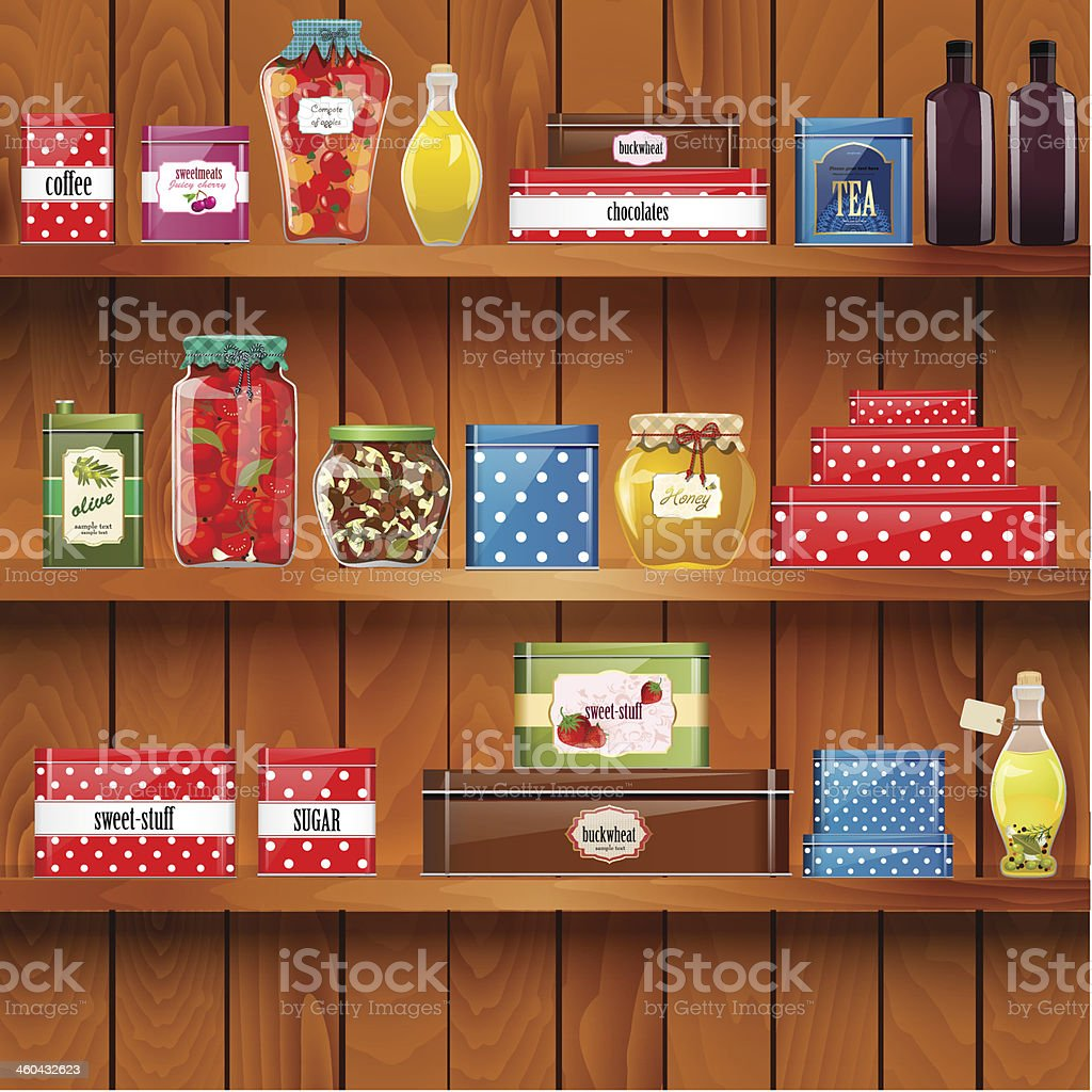 wooden shelves with  organic food vector art illustration
