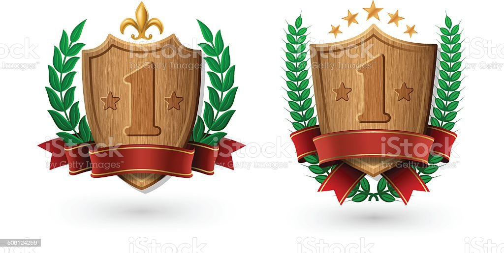 Wooden Shield Coat of Arms of Excellence vector art illustration