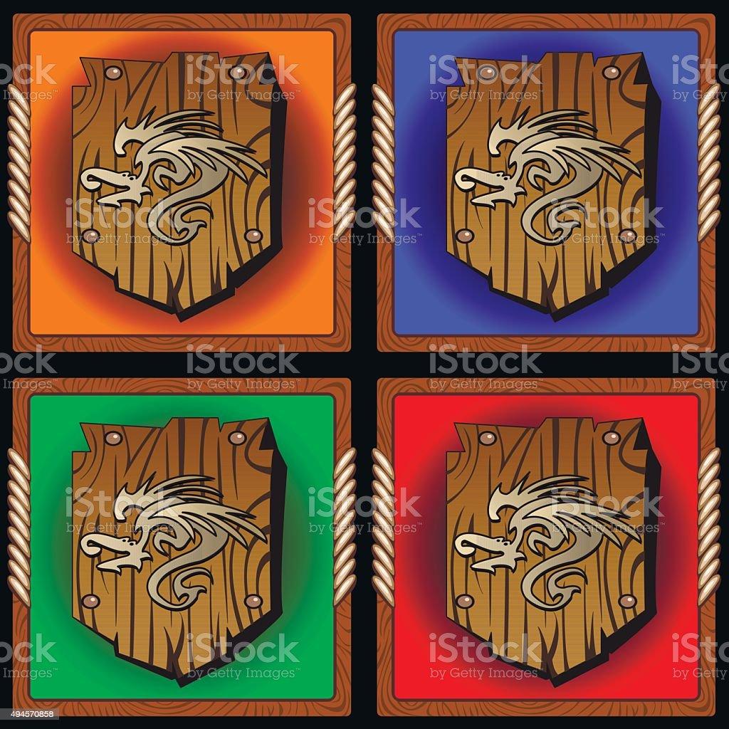 wooden shield vector art illustration