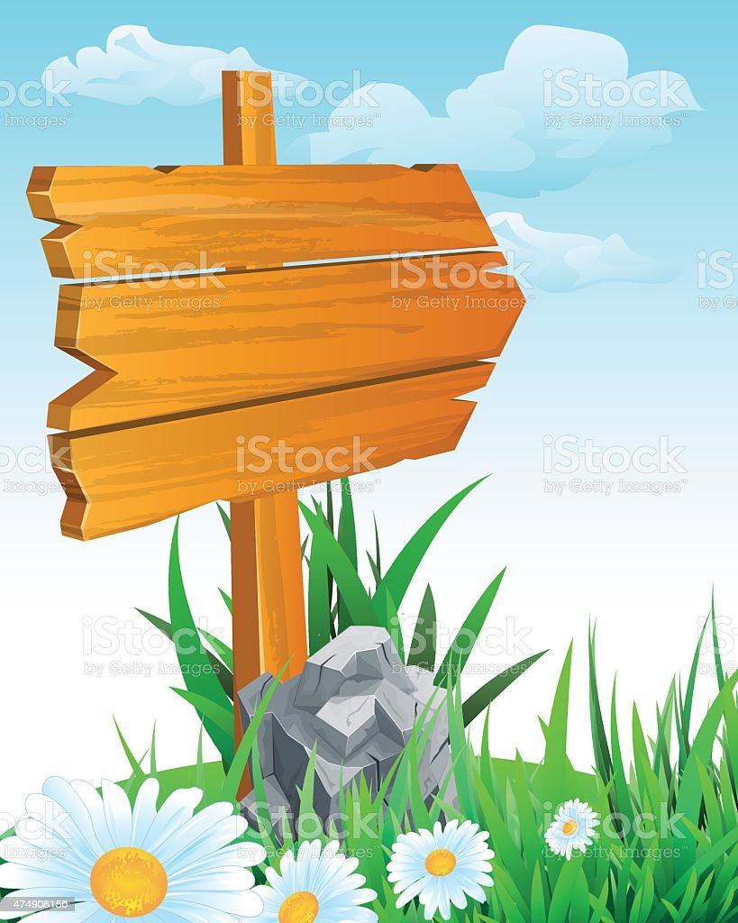 wooden sign boards vector art illustration