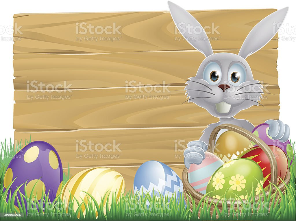 Wooden sign Easter white rabbit royalty-free stock vector art