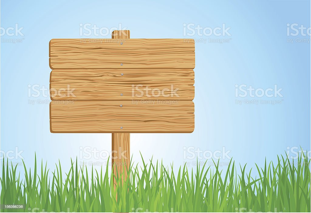 Wooden sign on green grass vector art illustration