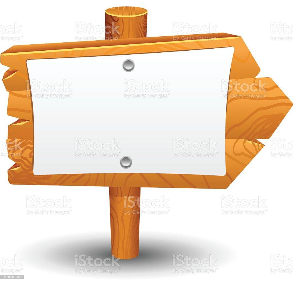 Wooden sign, post, icon, symbol, label vector art illustration