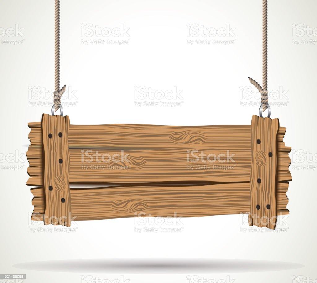 Wooden sign vector art illustration