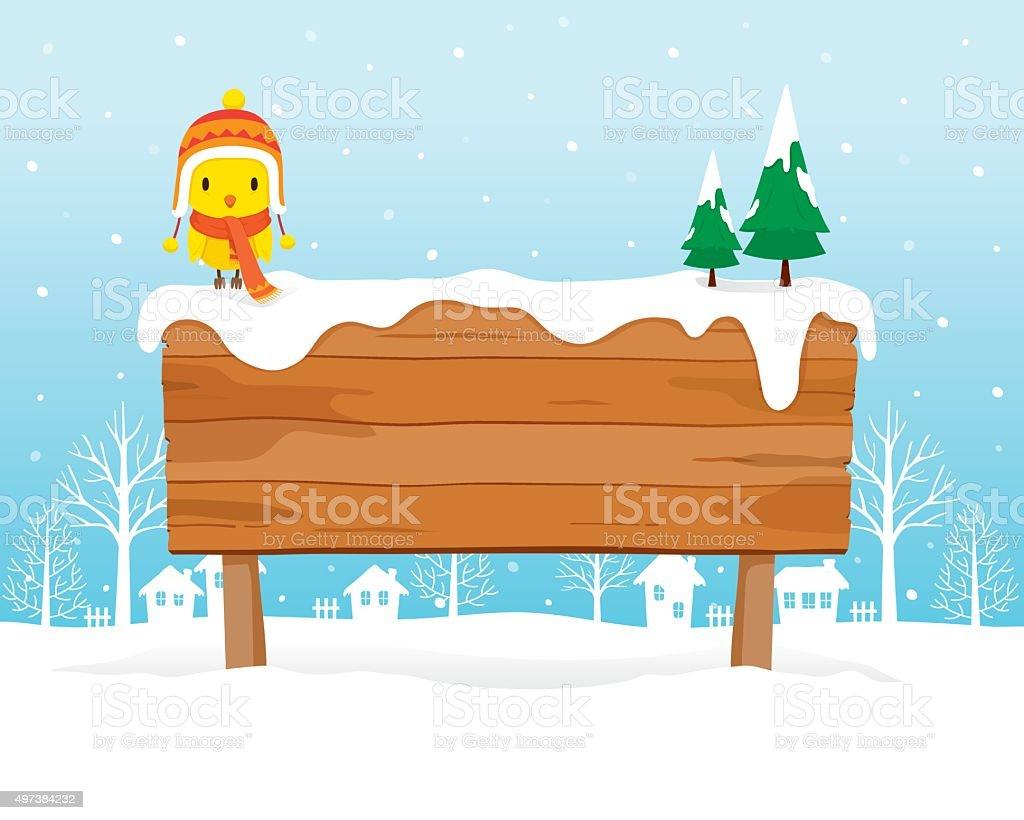 Wooden Signboard On Snowdrift vector art illustration