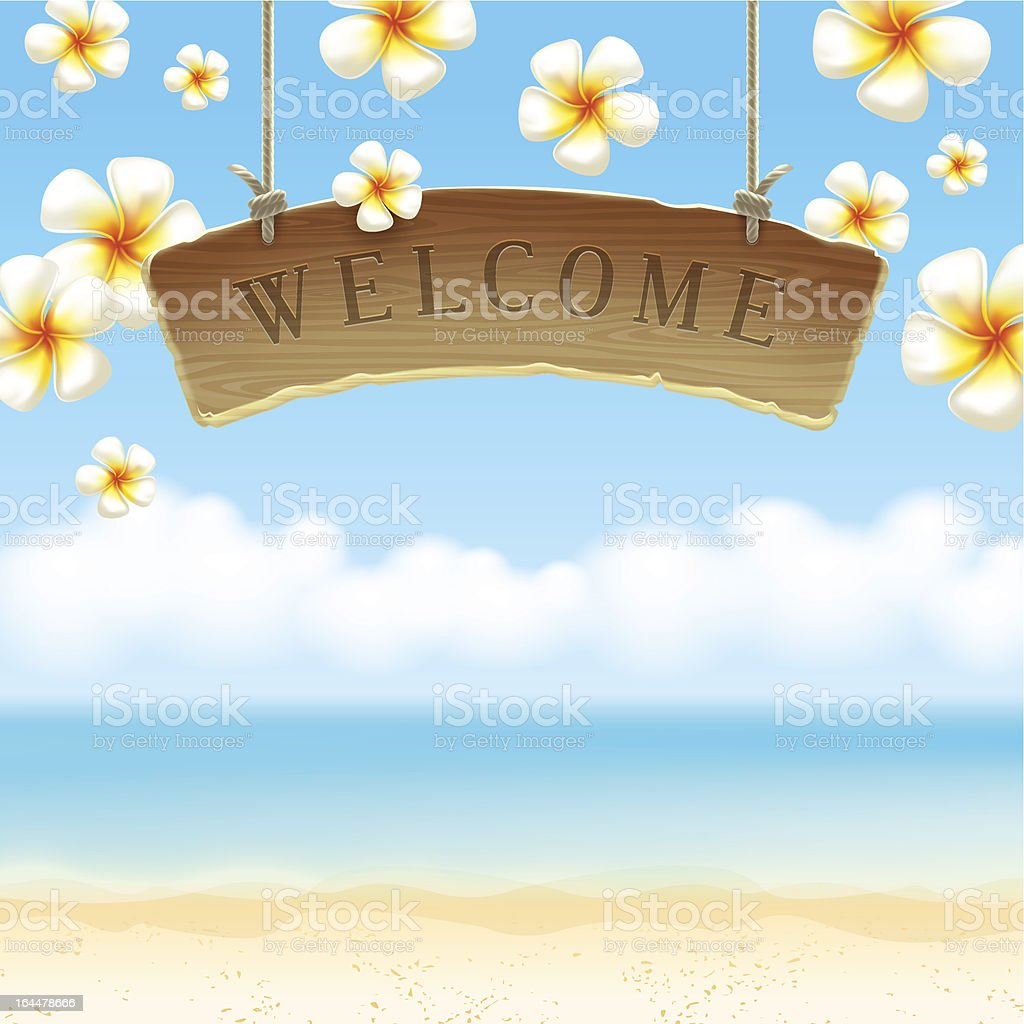 Wooden signboard Welcome on a tropical beach royalty-free stock vector art