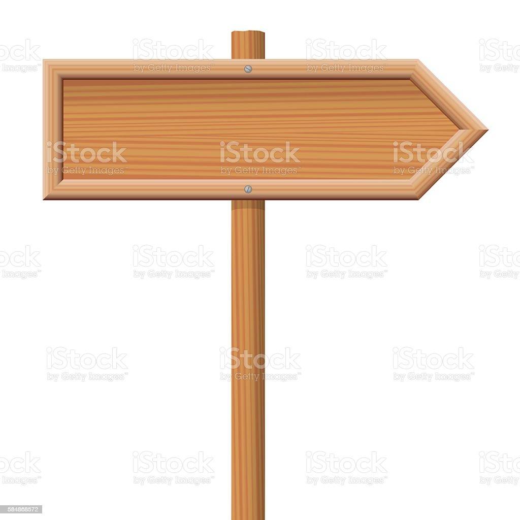 Wooden Signpost vector art illustration