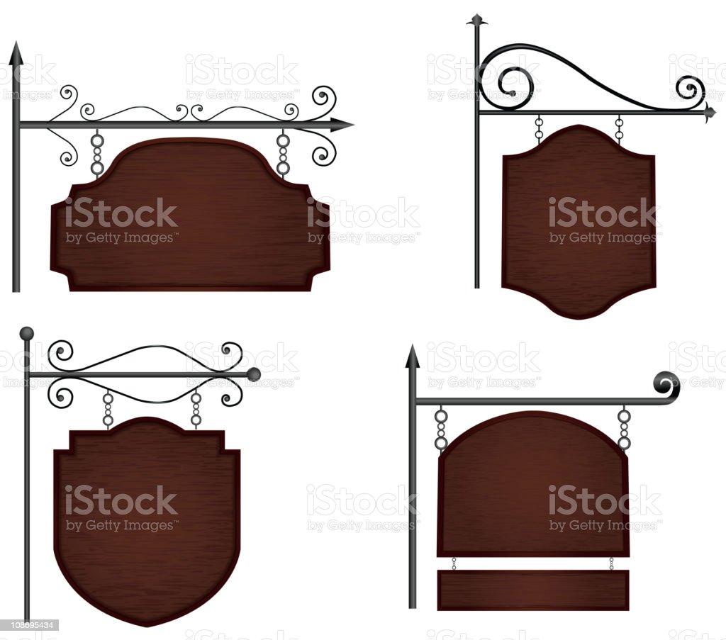 Wooden signs vector art illustration