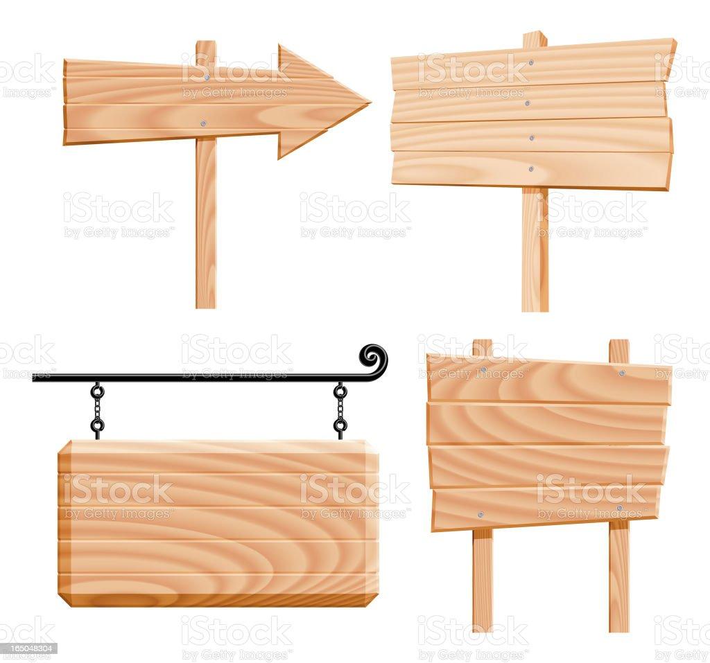 wooden signs (vector) vector art illustration