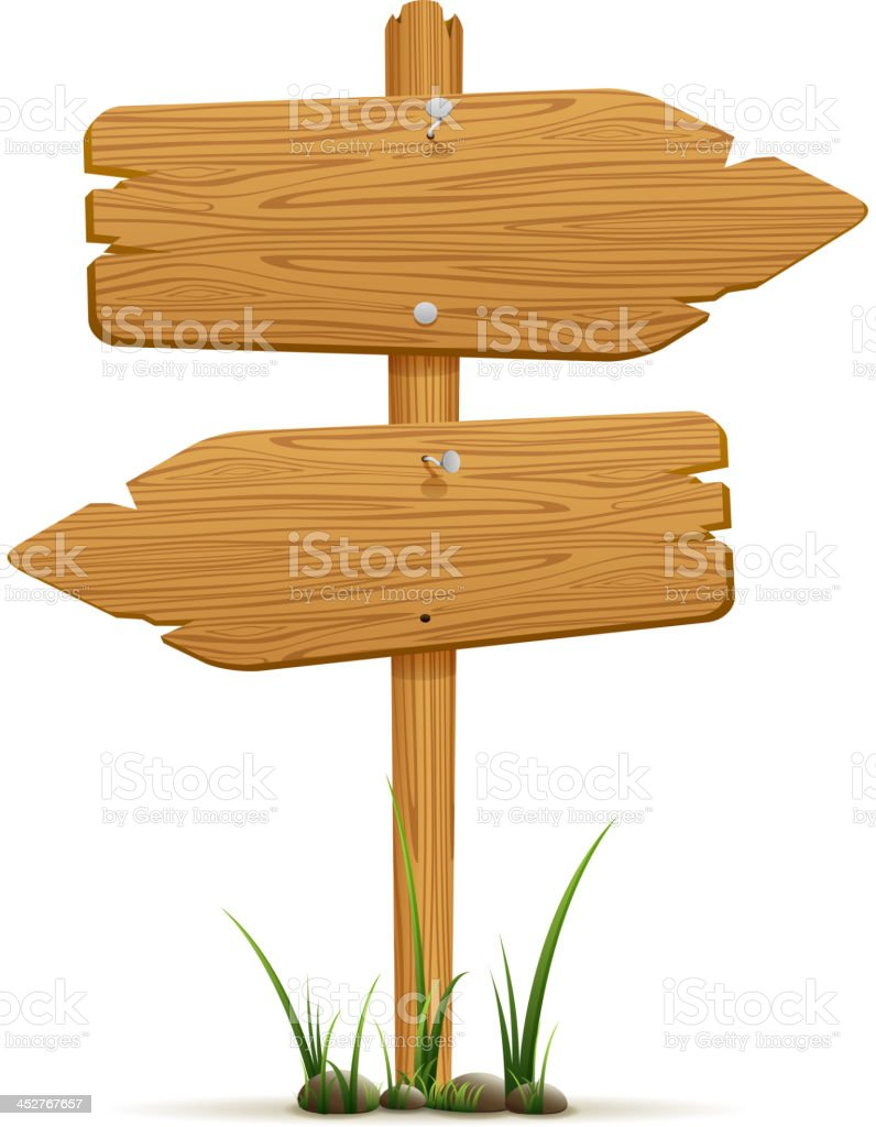 Wooden signs vector art illustration