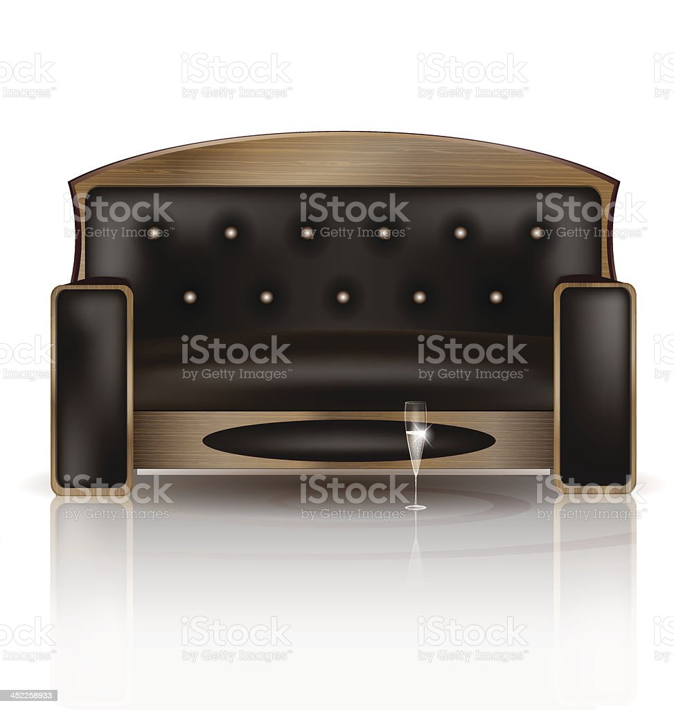 wooden sofa and glass of wine royalty-free stock vector art