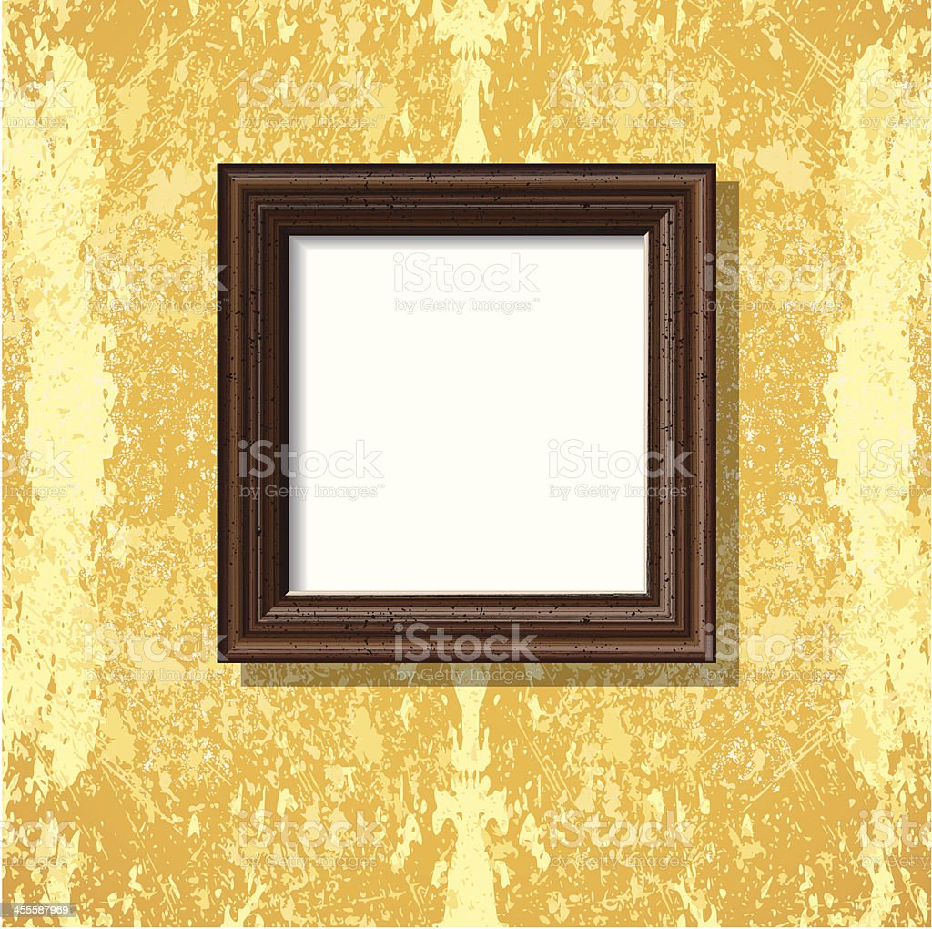 wooden square frame on bright Tuscany wall royalty-free stock vector art