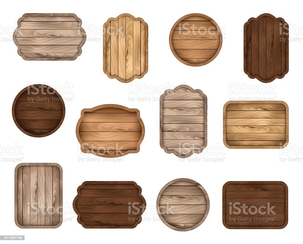 Wooden stickers, label, sign board, badge, banner vector collection. vector art illustration
