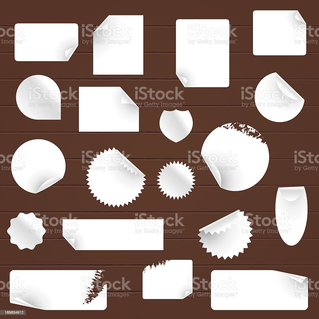 Wooden Texture and Sticky Notes ( Tags, Label ) vector art illustration