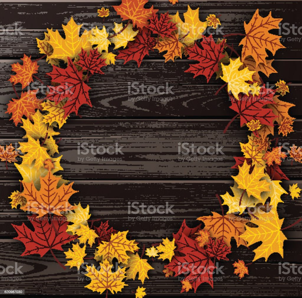 Wooden texture background with maple leaves. vector art illustration