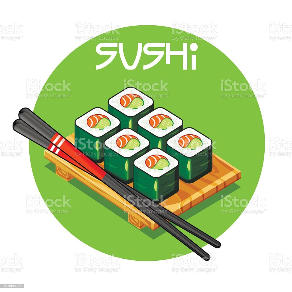 Wooden tray with Sushi vector-Japanese food vector art illustration