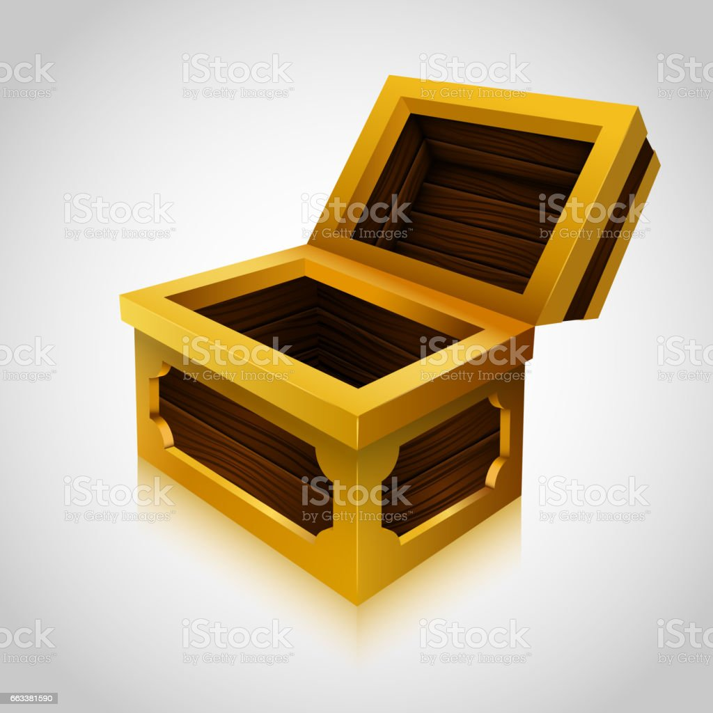 Wooden treasure chest on white background. vector art illustration