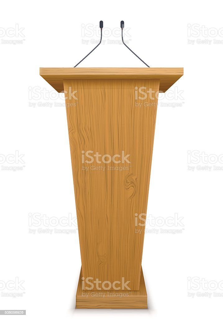 wooden tribune with microphone isolated on white background vector art illustration