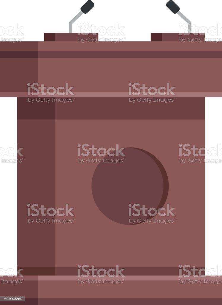 Wooden tribune with microphones. Brown wooden rostrum, podium, stand. Creative flat design. Modern vector illustration vector art illustration
