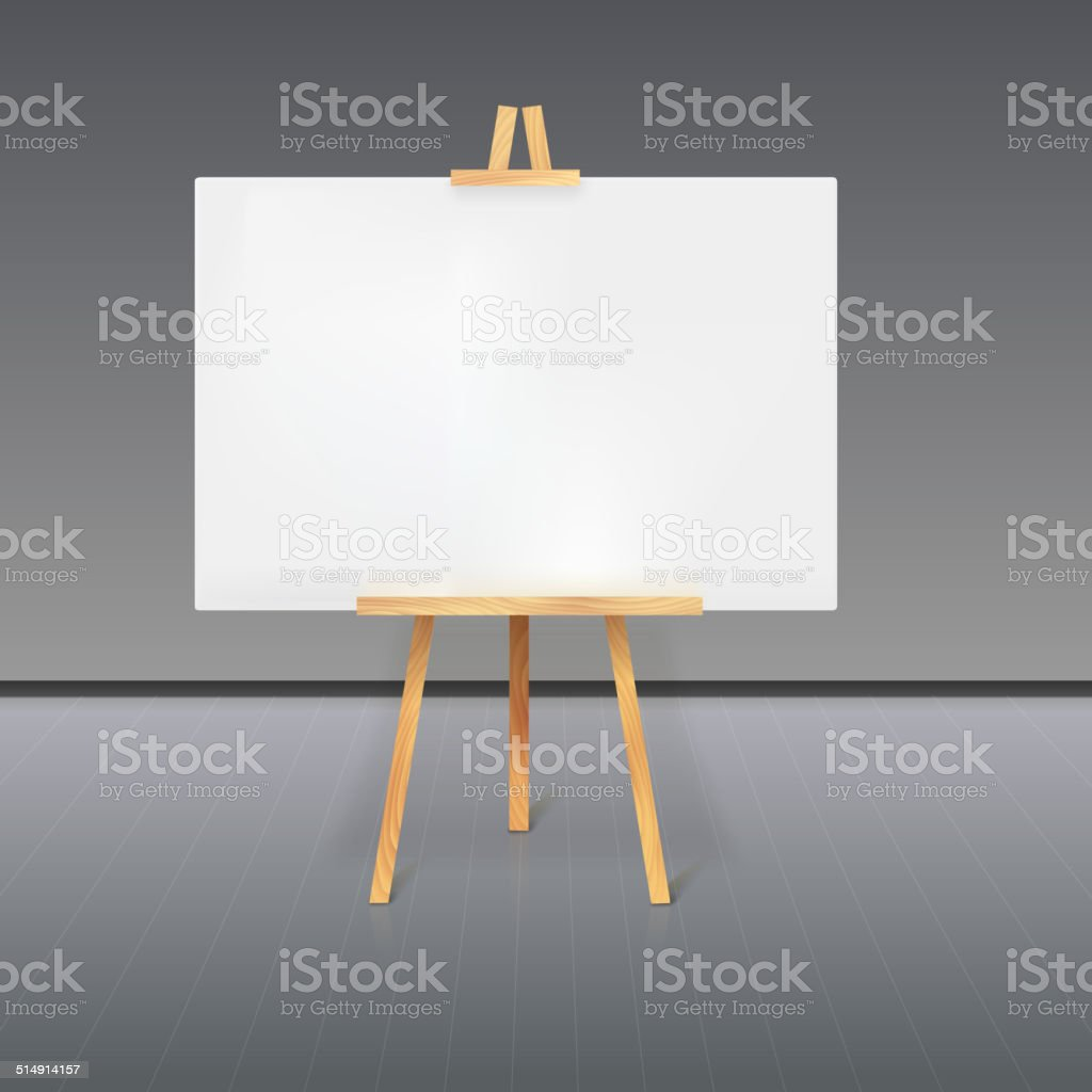Wooden tripod with a white sheet of paper vector art illustration