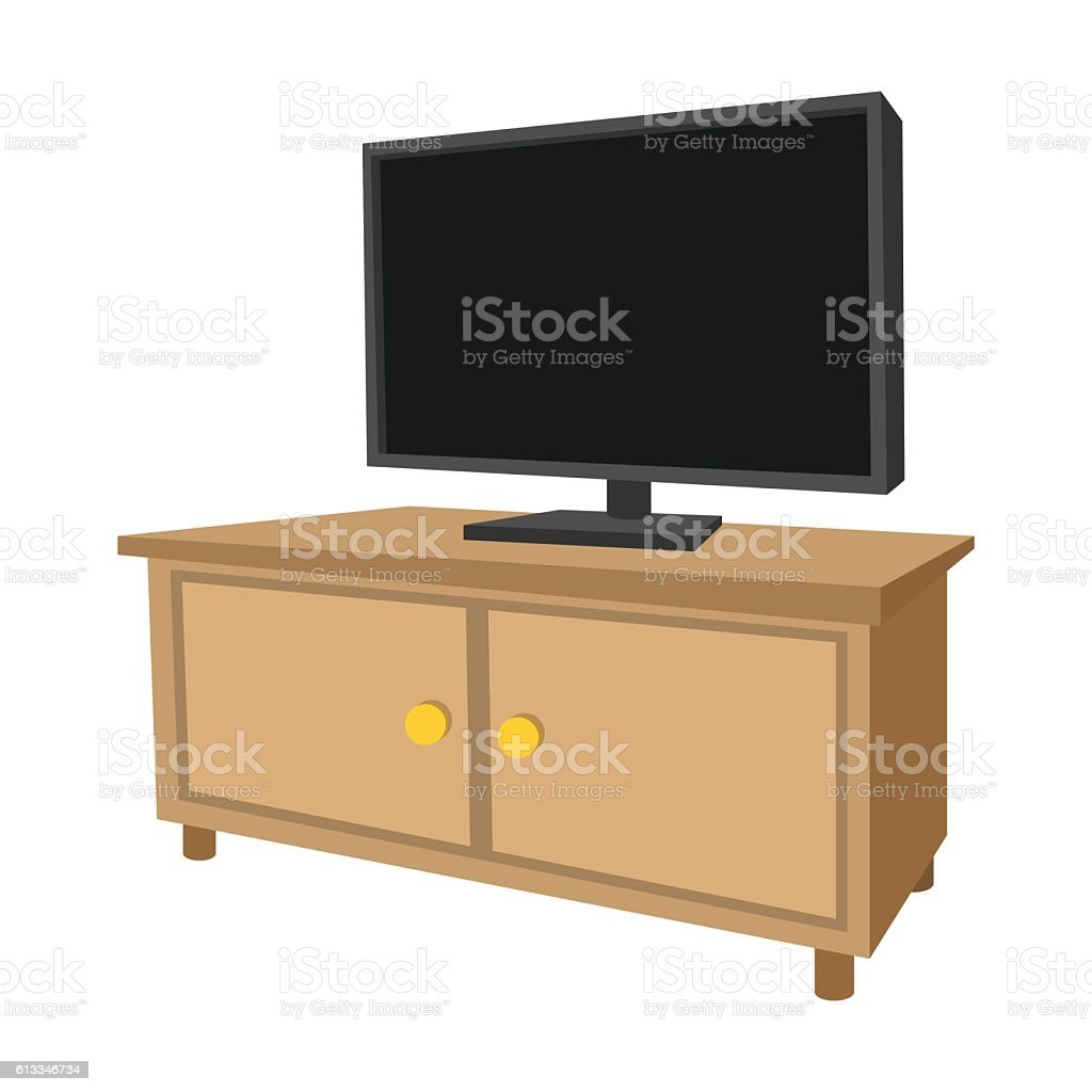 Large Tv Cabinets Wooden Tv Cabinet With A Large Tv Cartoon Icon Stock Vector Art