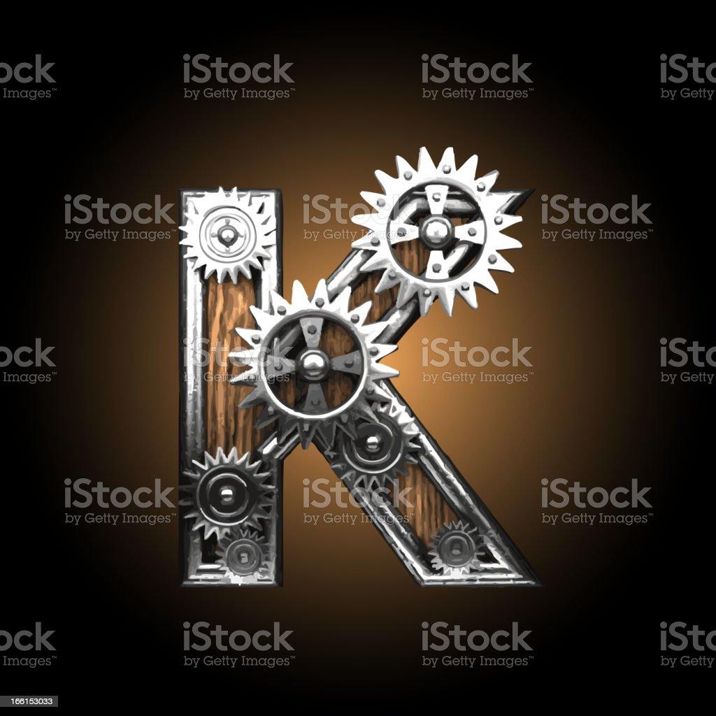wooden vector gearwheel figure K royalty-free stock vector art