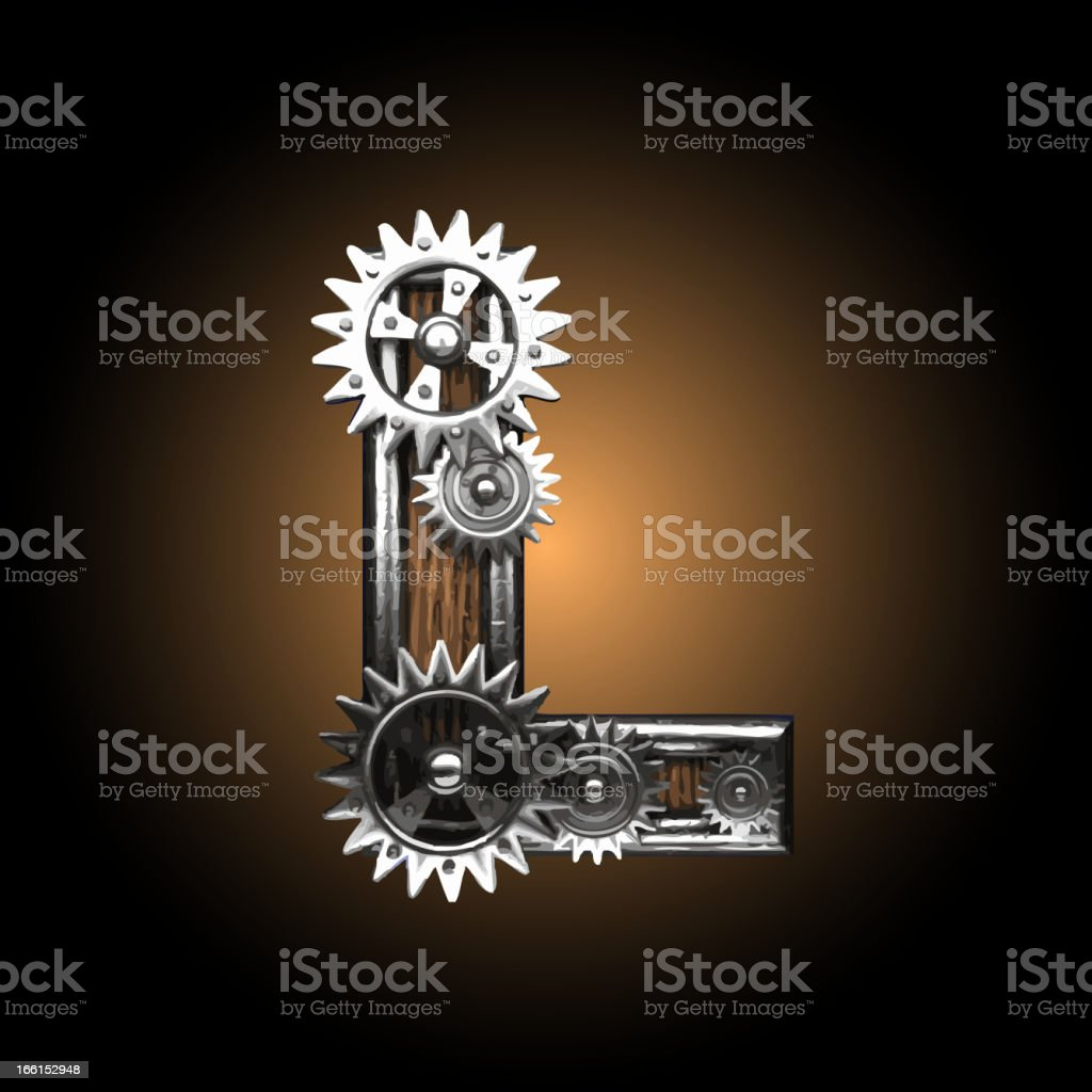 wooden vector gearwheel figure L royalty-free stock vector art