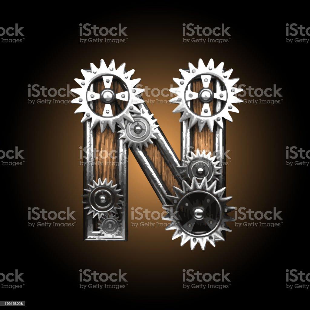 wooden vector gearwheel figure N royalty-free stock vector art