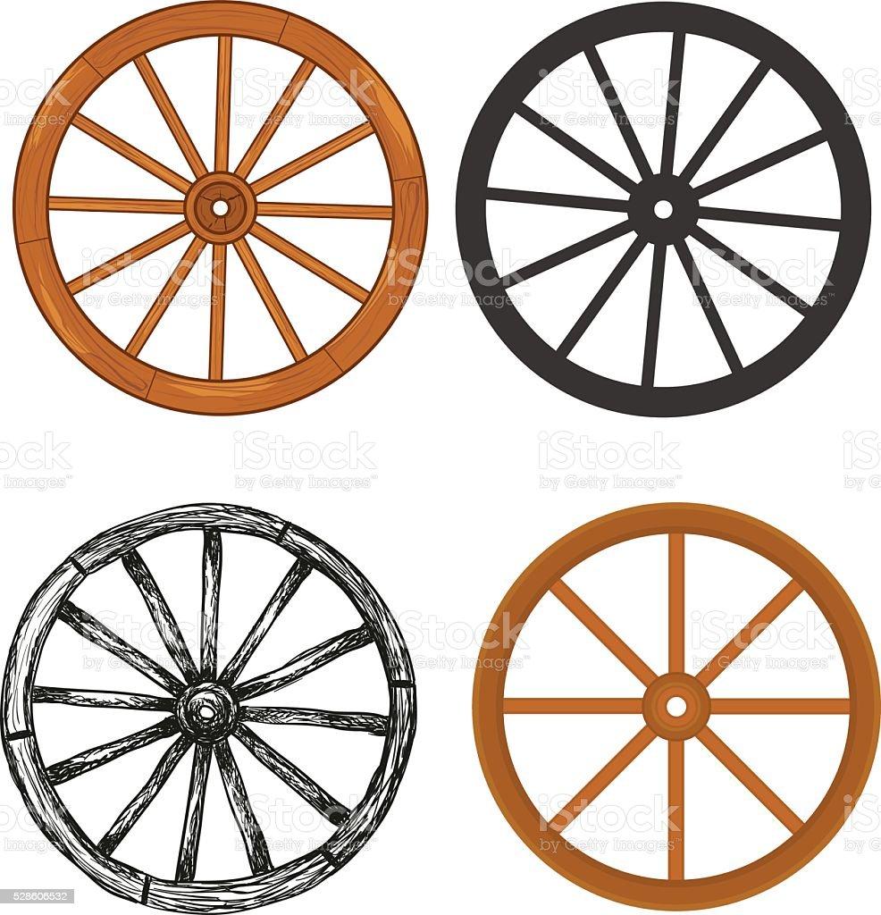 Wooden wheel vector art illustration