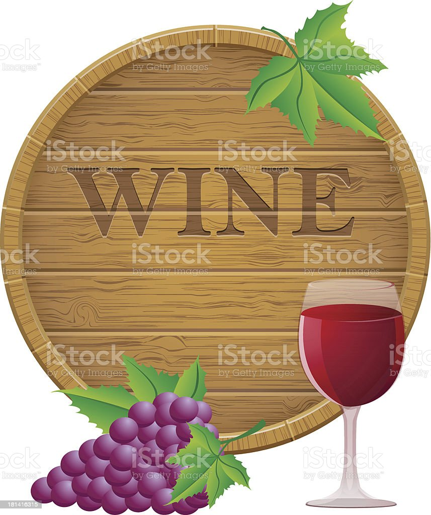 wooden wine barrel and glass vector EPS10 illustration royalty-free stock vector art