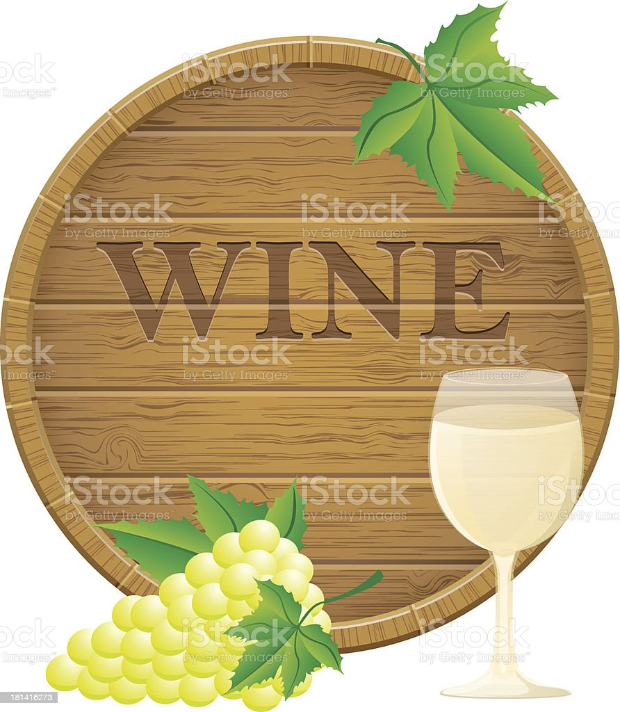 wooden wine barrel and glass vector illustration EPS10 royalty-free stock vector art